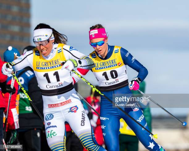 Sadie Bjornsen of the United States and Charlotte Kalla of Sweden competes in the Women's 10km freestyle pursuit during the FIS Cross Country Ski...