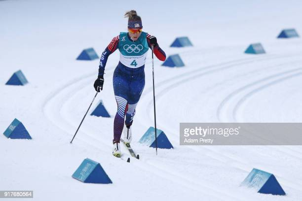 Sadie Bjornsen of the United States competes during the CrossCountry Ladies' Sprint Classic Qualification on day four of the PyeongChang 2018 Winter...