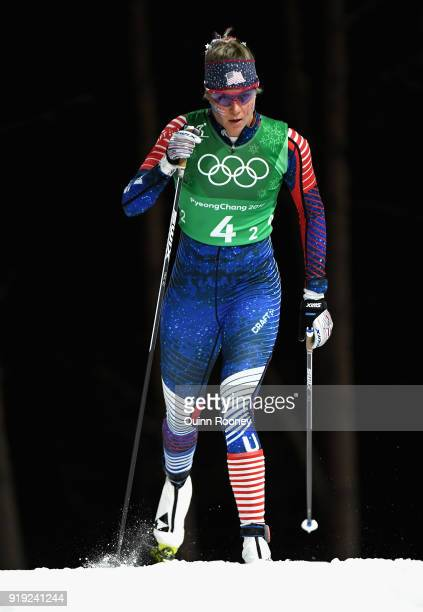 Sadie Bjornsen of the United States competes during the Ladies' 4x5km Relay on day eight of the PyeongChang 2018 Winter Olympic Games at Alpensia...
