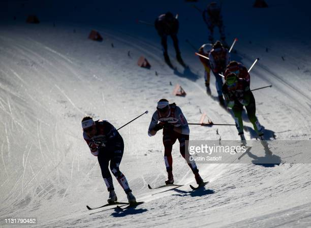 Sadie Bjornsen of the United States competes in the Cross Country Men's Team Sprint semifinal race during the FIS Nordic World Ski Championships on...