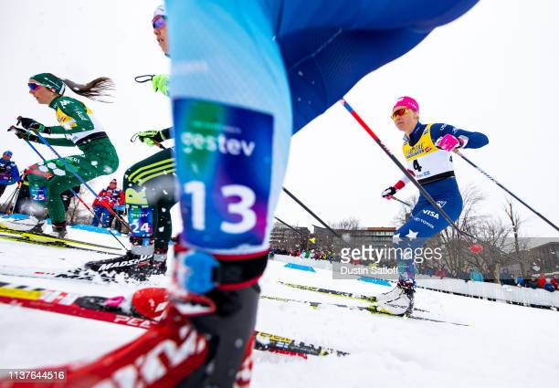 Sadie Bjornsen of the United States competes in the sprint quarterfinal heat during the FIS Cross Country Ski World Cup Final on March 22 2019 in...