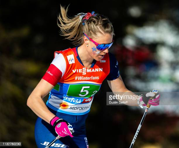 Sadie Bjornsen of the United States competes in the Women's 4x5km Cross Country relay during the FIS Nordic World Ski Championships on February 28...