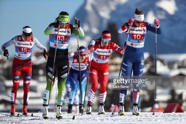 Sadie Bjornsen of the United States Katja Visnar of Slovenia Natalia Nepryaeva of Russia and Justyna Kowalczyk of Poland compete in the second...