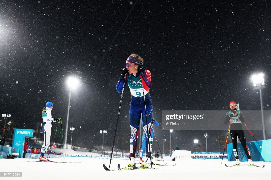 Sadie Bjornsen of the United States looks on during the Cross-Country Ladies' Sprint Classic Quarterfinal on day four of the PyeongChang 2018 Winter Olympic Games at Alpensia Cross-Country Centre on February 13, 2018 in Pyeongchang-gun, South Korea.