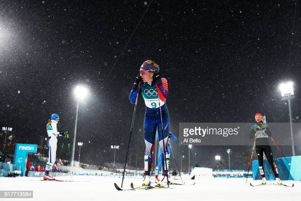 Sadie Bjornsen of the United States looks on during the CrossCountry Ladies' Sprint Classic Quarterfinal on day four of the PyeongChang 2018 Winter...