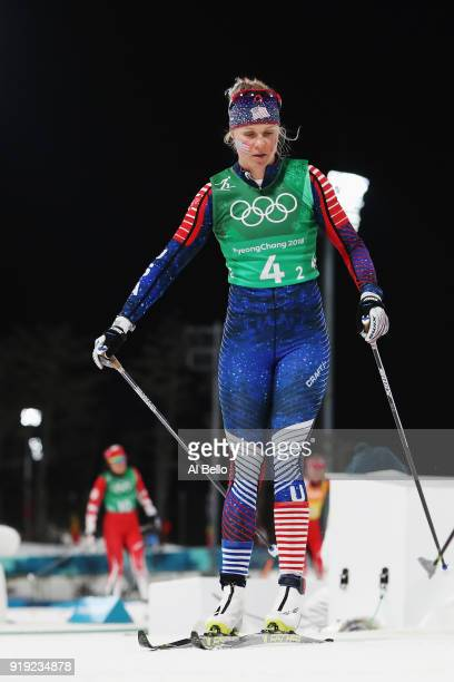 Sadie Bjornsen of the United States reacts during the Ladies' 4x5km Relay on day eight of the PyeongChang 2018 Winter Olympic Games at Alpensia...