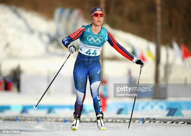 Sadie Bjornsen of the United States reacts in the finish area during the CrossCountry Skiing Ladies' 10 km Free on day six of the PyeongChang 2018...