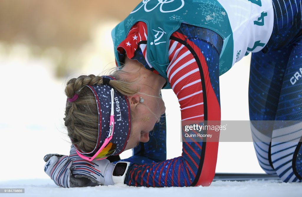 Sadie Bjornsen of the United States reacts in the finish area during the Cross-Country Skiing Ladies' 10 km Free on day six of the PyeongChang 2018 Winter Olympic Games at Alpensia Cross-Country Centre on February 15, 2018 in Pyeongchang-gun, South Korea.