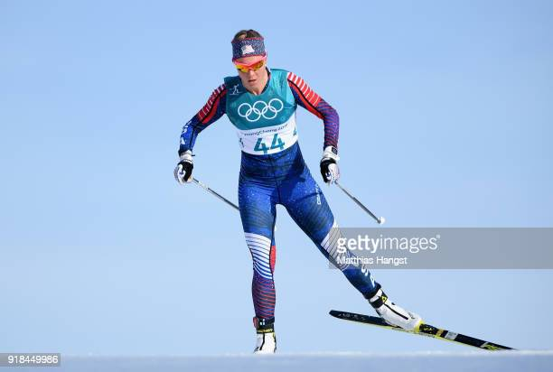 Sadie Bjornsen of the United States skis during the CrossCountry Skiing Ladies' 10 km Free on day six of the PyeongChang 2018 Winter Olympic Games at...