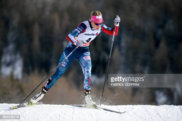 Sadie Bjornsen of the US competes in the Women's 10 km pursuit free during the cross country FIS World cup Tour de Ski event on January 1, 2018 in...