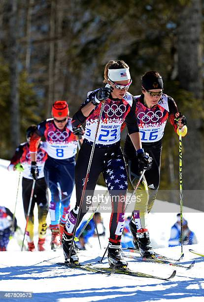 Sadie Bjornsen of United States and Katrin Zeller of Germany compete in the Ladies' Skiathlon 7.5 km Classic + 7.5 km Free during day one of the...