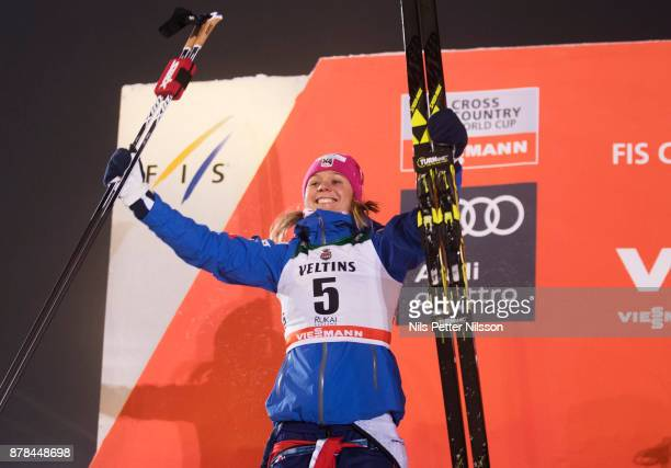 Sadie Bjornsen of USA celebrates her 2nd place during the cross country sprint finals during the FIS World Cup Ruka Nordic season opening at Ruka...