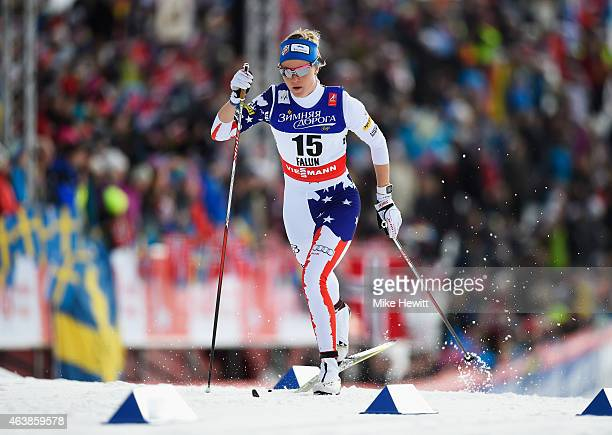 Sadie Bjornsen of USA competes during the Women's CrossCountry Sprint Qualification during the FIS Nordic World Ski Championships at the Lugnet venue...
