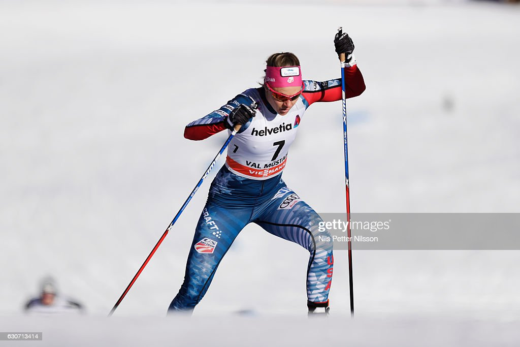 Sadie Bjornsen of USA competes during the women's Sprint F race on December 31, 2016 in Val Mustair, Switzerland.