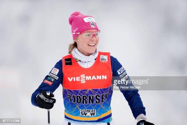 Sadie Bjornsen of USA during the cross country training ahead of the FIS World Cup Ruka Nordic season opening at Ruka Stadium on November 23 2017 in...