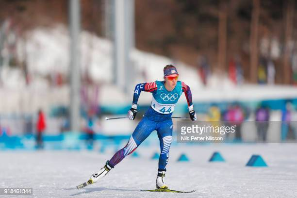 Sadie Bjornsen of USA during the women's 10k free technique Cross Country competition at Alpensia CrossCountry Centre on February 15 2018 in...