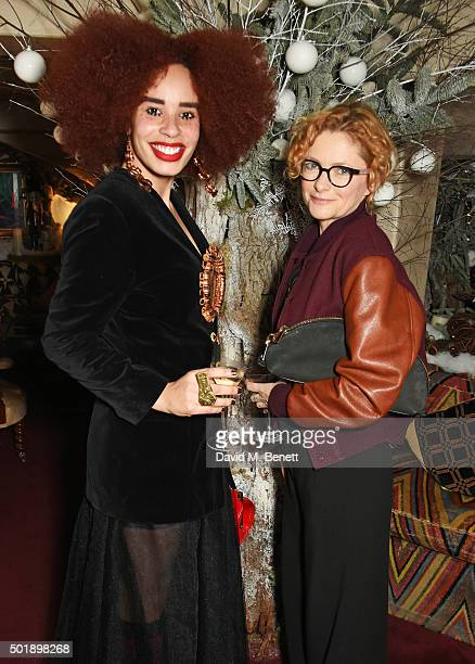 Sadie Clayton and Alison Goldfrapp attend the LOVE Christmas party at George on December 18 2015 in London England
