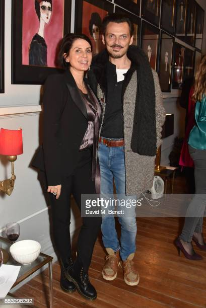 Sadie Frost and Matthew Williamson attend a private view of artist Rebecca Leigh's exhibition hosted by Sadie Frost at Tann Rokka on November 30,...
