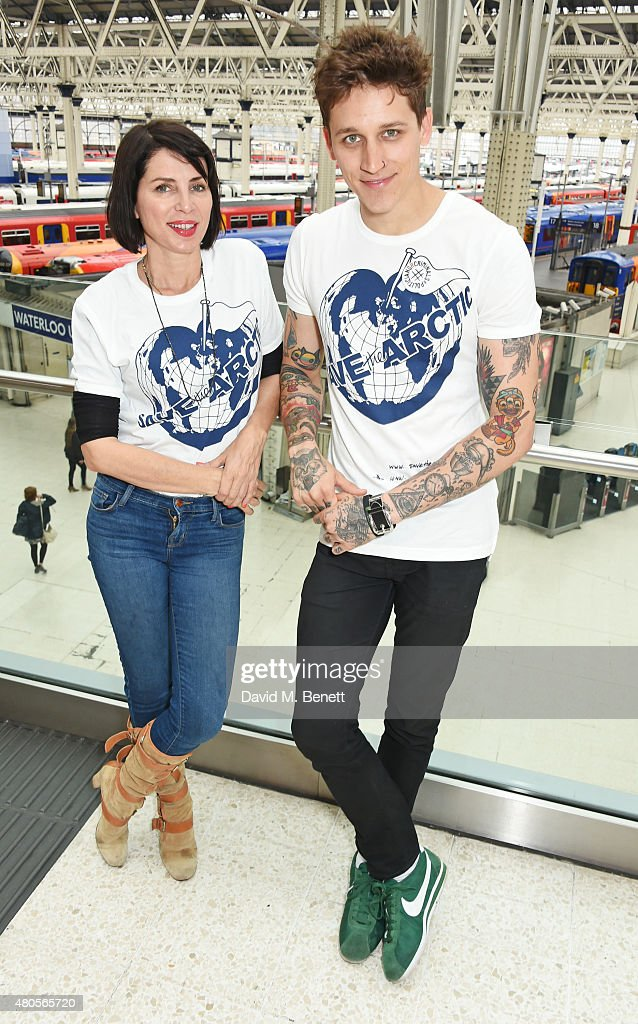 Sadie Frost (L) and model Leebo Freeman attend the launch of the 'Save The Arctic' exhibition with Greenpeace hosted by London Underground at Waterloo Station on July 13, 2015 in London, England.