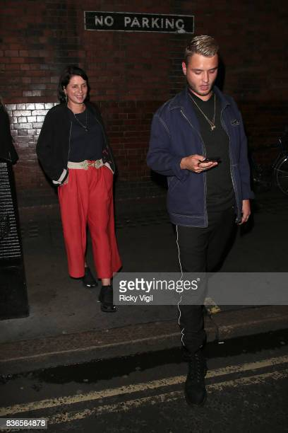 Sadie Frost and Rafferty Law leaving Apollo Theatre after watching Sienna Miller in Cat on a Hot Tin Roof on August 21 2017 in London England