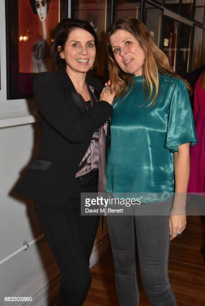 Sadie Frost and Rebecca Leigh attend a private view of artist Rebecca Leigh's exhibition hosted by Sadie Frost at Tann Rokka on November 30, 2017 in...