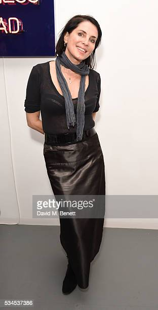 Sadie Frost attends a private view of 'Art Electric' a collaboration between artists Zoe Grace and John Morrissey at Lawrence Alkin Gallery on May 26...