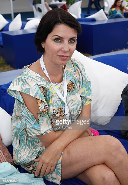 Sadie Frost poses behind the main stage in the O2 VIP Lounge during Day Two of the O2 Wireless Festival in Hyde Park on July 4, 2008 in London,...