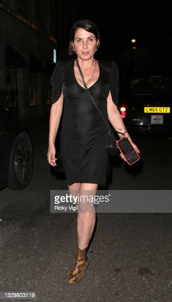 """Sadie Frost seen attending Fat Tony's autobiography """"I Don't Take Requests"""" pre-launch party at Isabel Mayfair on July 19, 2021 in London, England."""