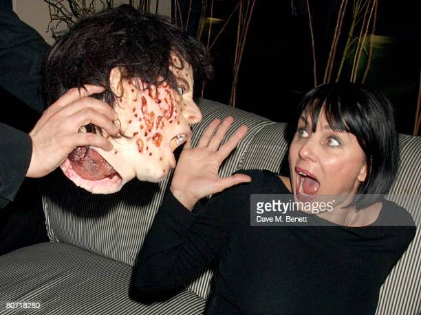 Sadie Frost with a mask of Jackson Scott attends the launch party for Hammer Horror's latest film 'Beyond The Rave' to be premiered on myspace at...