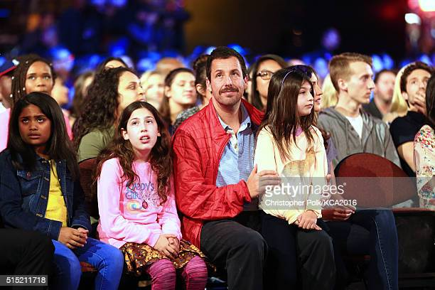 Sadie Madison Sandler actor Adam Sandler and Sunny Madeline Sandler attend Nickelodeon's 2016 Kids' Choice Awards at The Forum on March 12 2016 in...