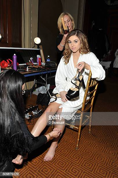 Sadie Robertson prepares backstage at the Sherri Hill Fall 2016 fashion show during New York Fashion Week The Shows on February 12 2016 in New York...