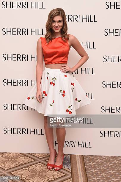 Sadie Robertson prepares backstage at the Sherri Hill Spring 2016 fashion show during New York Fashion Week at The Plaza Hotel on September 13 2015...