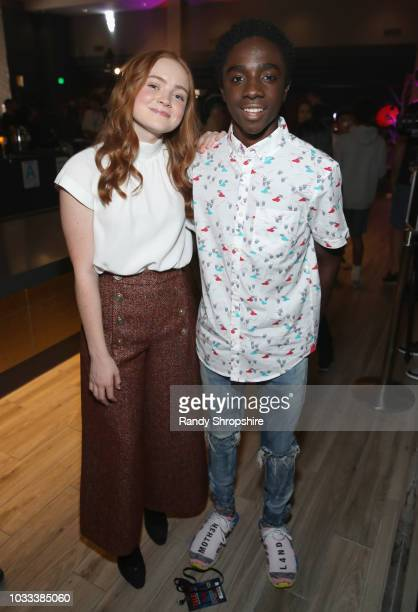 Sadie Sink and Caleb McLaughlin attend Halloween Horror Nights 2018 at Universal Studios Hollywood on September 14 2018 in Los Angeles California