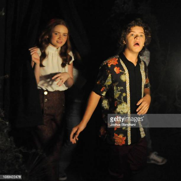 Sadie Sink and Gaten Matarazzo attend Stranger Things Maze during Halloween Horror Nights 2018 at Universal Studios Hollywood on September 14 2018 in...