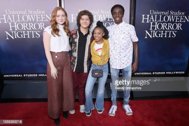 Sadie Sink Gaten Matarazzo Priah Ferguson and Caleb McLaughlin attend Halloween Horror Nights 2018 at Universal Studios Hollywood on September 14...