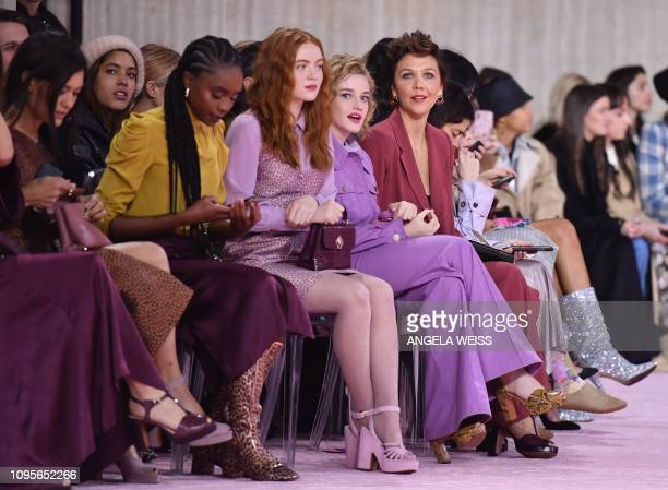 Sadie Sink, Julia Garner (CR0 and Maggie Gyllenhaal attend the Kate Spade AW19 Collection at Cipriani 25 Broadway during New York Fashion Week on...
