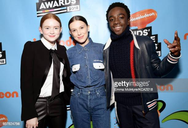Sadie Sink Millie Bobby Brown and Caleb McLaughlin backstage at Nickelodeon's 2018 Kids' Choice Awards at The Forum on March 24 2018 in Inglewood...