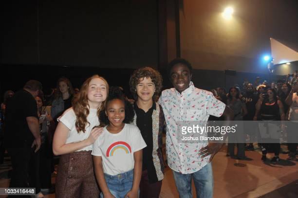 Sadie Sink Priah Ferguson Gaten Matarazzo and Caleb McLaughlin attend Stranger Things Maze during Halloween Horror Nights 2018 at Universal Studios...