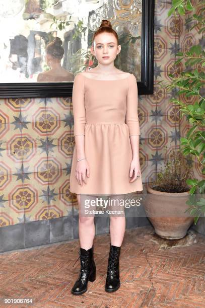Sadie Sink wearing Dior attends Lynn Hirschberg Celebrates W Magazine's It Girls With Dior at A.O.C on January 6, 2018 in Los Angeles, California.