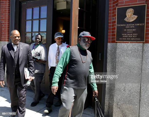 Sadiki Kambon right is part group of a concerned black individuals who met with representatives from the Boston Red Sox organization at Fenway Park...