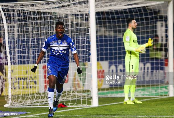 Sadio Diallo of Bastia celebrates his goal during the French Ligue 1 match between Bastia and Monaco at Stade Armand Cesari on February 17 2017 in...