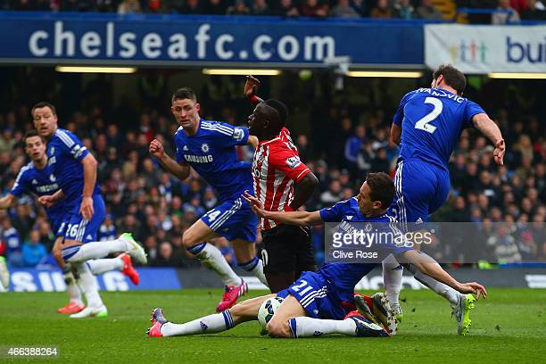 Sadio Mané of Southampton is brought down bv Nemanja Matic of Chelsea to win a penalty during the Barclays Premier League match between Chelsea and...