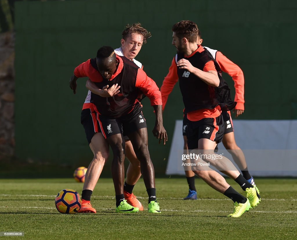 Sadio Mane and Lucas Leiva of Liverpool during a training session at La Manga on February 16, 2017 in La Manga, Spain.