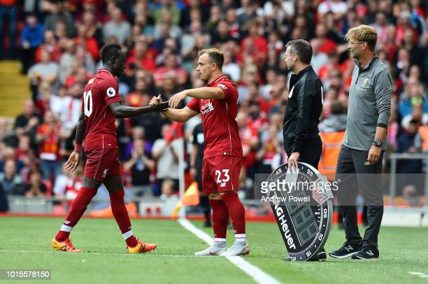 Sadio Mane being replaced by Xherdan Shaqiri of Liverpool during the Premier League match between Liverpool FC and West Ham United at Anfield on...