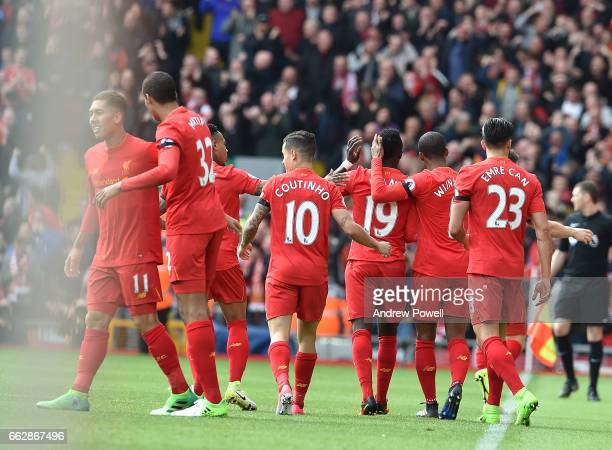 Sadio Mane Celebrates for liverpool during the Premier League match between Liverpool and Everton at Anfield on April 1 2017 in Liverpool England