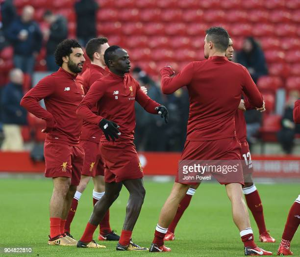Sadio Mane Dejan Lovren Mohamed Salah of Liverpool before the Premier League match between Liverpool and Manchester City at Anfield on January 14...
