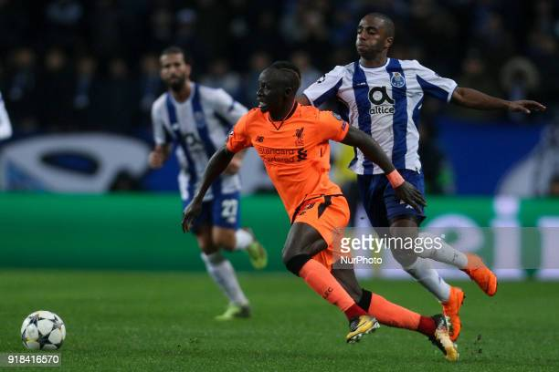 Sadio Mane forward of Liverpool in action with Porto's Portuguese defender Ricardo Pereira during the UEFA Champions League match between FC Porto...