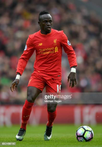 Sadio Mane in action during the Premier League match between Liverpool and Burnley at Anfield on March 12 2017 in Liverpool England