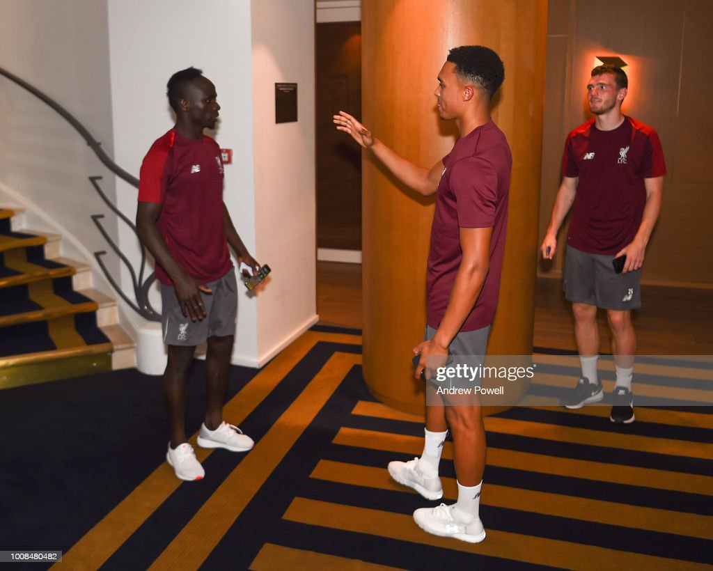 Sadio Mane meeting Trent Alexander-Arnold of Liverpool on his first day back from international duty to join the pre-season training camp on July 31, 2018 in Evian-les-Bains, France.