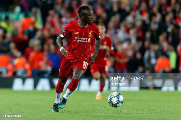 Sadio Mane of FC Liverpool controls the ball during the UEFA Champions League group E match between Liverpool FC and RB Salzburg at Anfield on...